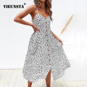 Vieunsta Leopard Floral Vestido Correa Impreso Verano 2019 Mujeres Con Cuello En V Botón Midi Vestido de Fiesta Elegante Sin Mangas Bolsillos Sundress MX190723