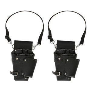 2x Soft Wearproof Scissors Shears Combs Clips Salon Waist Pouch Bag Holder Black