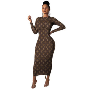 women long sleeve slim dresses one piece set skirt fashion letter casual dresses beach party evening club dress women clothes klw2458