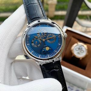 Nueva Patrimonio calendario perpetuo de la caja de acero 43175 / 000R-B519 automática del reloj para hombre de la luna Fase Azul Dial correa de cuero Relojes Hello_Watch