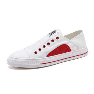 2019 Nouveau mode type de dentelle confortable en blanc homme Souliers simple Mode Sneaker Mode Chaussures confortables pour la marche extérieure