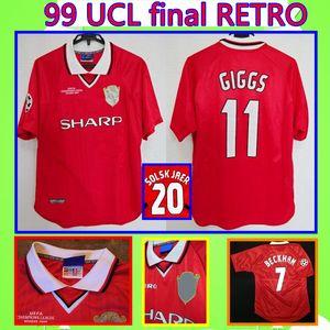 Manchester United # 7 BECKHAM GIGGS # 20 SOLSKJAER UCL finale 1999 2000 Rétro United maillot de football UTD 99 00 HOMME Vintage Classic commémorer Collection antique