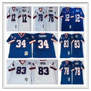 Hombres fútbol de la vendimia Thurman Thomas 34 Jim Kelly 12 78 83 Bruce Smith Andre Reed Sticthed retro jerseys azul blanco barato de tamaño S-3XL
