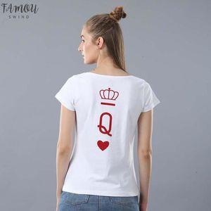 King Queen Princess T Shirt Women Men Crown Solid Print Vogue T Shirt Casual Couple Lover Shirt Femme Harajuku Summer Tops Graphic