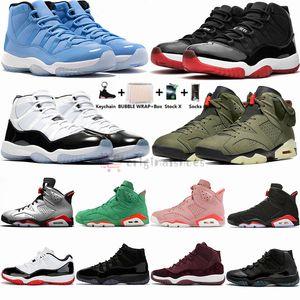 2020 Travis Scotts 6 6s tênis de basquete Bred Shoe 11 11S Concord 45 Space Jam Pantone Mens Preto infravermelhos Formadores Mulheres Sports Sneakers