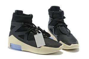 2019 Zapatos de diseñador Fear Of God 1 Light Bone Negro Hombres zapatos Moda Niebla Botas Cuero real