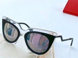 새로운 패션 디자이너 선글라스 0117 컴팩트하고 매력적인 고양이 눈 프레임 코팅 반사 렌즈 아방가르드 현대적인 장식 안경