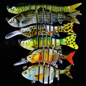 New Arrival 6Pcs Set 1x 8 1x6 Sections Fishing Lure 6# 8# Fishing Hook Swimbait Fishing bait Artificial Bass Baits