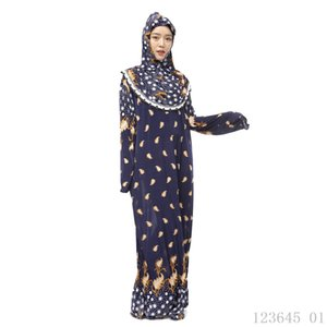 Plus Size Hijab + Abaya Muslim Summer Dress Long Sleeve Ropa Musulman Mujer Jilbab Islamic Dress Floral Turkish Abayas for Women
