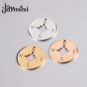 Jaymaxi Compass Disc Charms Stainless Steel Mirror Polished Jewelry Necklace Making Gold Color Charms 20Pieces lot