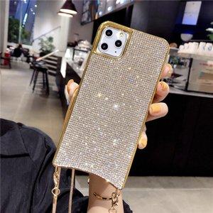 Llena de diamantes caja del teléfono Para iPhone11Pro creativo cuerda oblicua Rhinestone cubierta protectora de Tpu para el amigo 326
