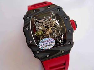 Mens Yüksek Kalite Mükemmel Yükseltme İzle 035-02 Forge Karbon Titanyum Durumda Düğmesi Kırmızı Chronograph Otomatik Erkekler Spor Saatı