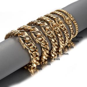 Cor do ouro Stainless Steel Miami Curb cubana Chain Link Bracelet Bangle 7-11 polegadas de comprimento personalizado para homens 8/10/12/14/16/18 milímetros
