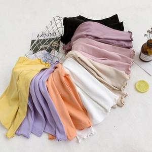 Детские девушки одежда дети рябить хлопок футболки малыш твердые шлифовальные с длинным рукавом Майка дети Весна открытый теплый топ PY531