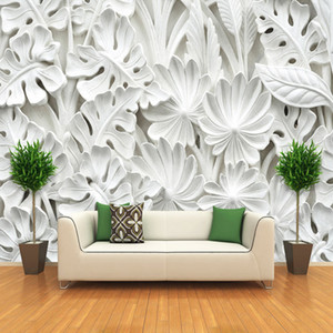 Dropship 3D Stereoscopic Leaf Pattern Plaster Relief Mural Wall Paper Living Room TV Background Wall Painting Wallpaper Home Decoration