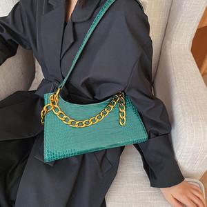 Padrão Pedra PU bolsas de couro Bandoleira para mulheres Cadeia Shoulder Messenger Bag Lady cor sólida Bolsas Retro bolsas