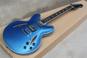 Sabit Köprüsü ile Fabrika Custom Yarı içi boş Metalik Mavi Elektro Gitar, Beyaz Bağlama ile Gülağacı Klavye, özelleştirilebilir