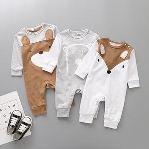 Niño recién nacido del otoño del resorte del bebé de la historieta de los mamelucos para niños muchachas de los muchachos del oso Fox algodón del mono de los niños de manga larga ropa de la subida M644