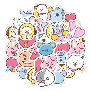 40pcs set bt21 new Cartoon cute Small waterproof stickers for DIY Sticker on Travel case Laptop Skateboard Guitar Fridge
