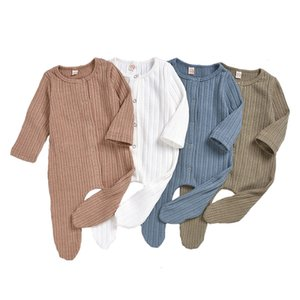 Säuglings-Baby-Massiv Overall Striped Knit Onesies Kinder Designes Kleidung Jungen Plaid Taschenbaumwolloverall Vêtement Bébé Kleinkind Outfits 060325