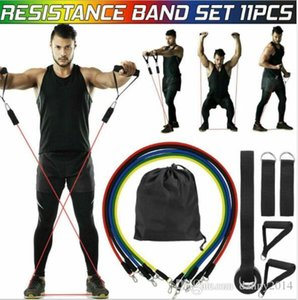 11pcs / Bandas Juego de látex de caucho natural resistencia de la aptitud Ejercicio Práctico de Formación Tubos cuerda elástico Yoga Pilates tire de la cuerda