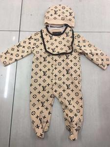 El niño infantil del mameluco del bebé sistemas de la ropa de las muchachas de completa suave de la manga del mono de los mamelucos + sombrero + Bib 3pcs / set Traje