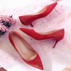 Goddess2019 Boda Rojo Recién casado Zapato Mujer Corto Bajo Agudo Fino Con tacón alto Estilo chino Casarse Zapatos de vestir