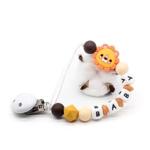 Personalized Name Baby Pacifier Clips Lion's Silicone Pacifier Chain Wood Pacifier Holders Baby Shower Gifts Dummy Clip BPA FREE