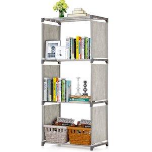 Capa 4/5 Soporte de suelo no tejidos Estantería Estante de almacenamiento Estantes Telas de muebles Librero Libro del organizador del almacenaje del estante Libros