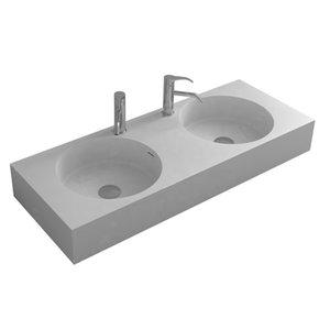 Bathroom Rectangular Wall Hung Wash Sink Fashionable Cloakroom Corian Vanity Wash Basin Solid Surface Resin Lavabo RS38305