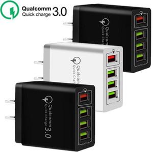 30W 4 portas USB QC3.0 Rápido carregador de parede QC 3.0 carregamento rápido carregador de parede Poder Adpater Para Samsung Huawei