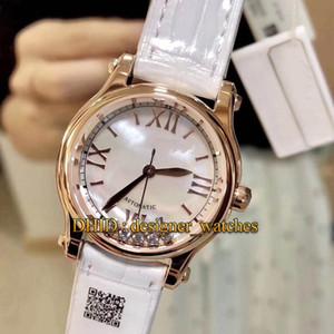 Happy Diamonds 274893-5009 Mulher Designer Relógios de luxo Strap Couro 30MM Rose Caso Ouro Mecânico Automático Movimento Assista Branco Couro