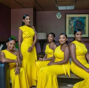 2020 Cheap Ragazza nera africana una spalla Giallo abiti da sposa semplici disegni vestidos de Dama de Honor formale abiti da sera abito