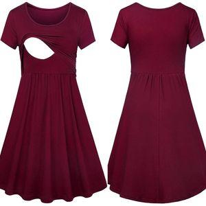 Summer Nursing Dress Women For Breastfeeding Casual Solid Loose Dress Feeding Maternity Pregnancy Clothes Plus Size 18jan12