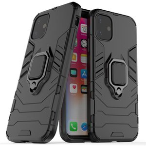 3in1 Hybrid Shockproof Case Back Cover Robot Case With Ring Stand PC+TPU+Alloy For iphone 11 11pro Max XS XR 7 8 Plus