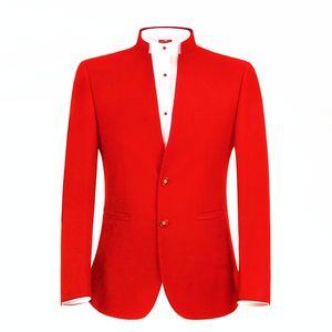 Classic Mandarin Lapel Wedding Tuxedos Slim Fit Suits For Men Groomsmen Suit Three Pieces Prom Formal Suits (Jacket+Pants) W107