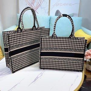 2020 nuova zampa di gallina Shopping Bag ricamato tela libro tote qualità Tote alta della borsa borse da donna Shoulder Bag