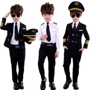 neue Mode Kindertages Pilot Uniform Stewardess Cosplay Halloween Kostüme für Kinder Disguise Mädchen-Jungen-Kapitän Aircraft Fancy Clothing