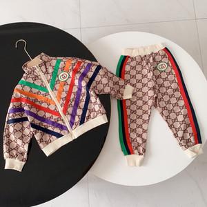 Neue Herbst-Kindklage Sportkleidung Jungen einfach lässig Hip-Hop-Farbe khaki bequeme Kinder Pullover Anzug Anzug