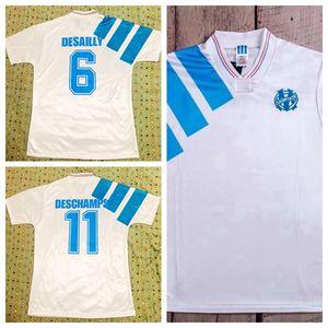 مايوه دي القدم أوم القديمة مرسيليا الرجعية لكرة القدم قميص كرة القدم 1992 بالقميص 1993 إضافية باييت بولي أولمبيك مرسيليا 92 93 مايوه دي القدم