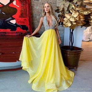 Vestidos de fiesta largos y modestos de cabestro amarillo Vestido de noche de gasa con ilusión de cristal sin espalda Vestido de ocasión boutique de talla grande