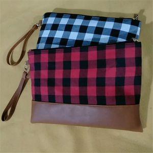 10 couleur Buffalo Plaid Clutch Buffalo Plaid rouge sac cosmétique femmes buffle sac à main de bourse de sac à carreaux Wristlet avec fermeture éclair gros MJJ97