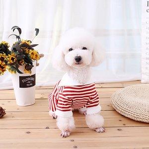 2020 Çizgili Pet Giyim Yaz 2 Renk Köpek Tshirts Moda Pamuk Kedi Gömlek Teddy Giyim Sıcak Satış