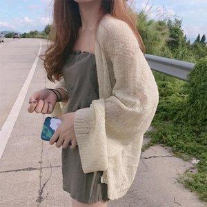 las mujeres Panpia Cardigan de punto las mujeres de verano chaqueta de punto suéter flojo capa hueco Kardigan sweter rebecas superior coreano