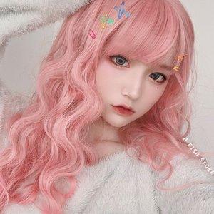 Parrucca donna rosa chiaro ondulata Teddy tagliatelle istantanee rotolo capelli ricci lunghi cappuccio traspirante da donna vere prime all'ingrosso di capelli finti