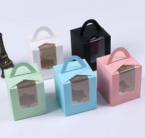 Singolo contenitori di bigné con la radura Finestra maniglia portatile Macaron Box alla mousse di cioccolato Snack scatole di carta Box Pacchetto festa di compleanno del rifornimento
