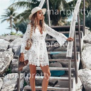 Bikini estate delle donne di occultamento del vestito floreale della cavità del merletto Crochet Swimsuit Swimwear Covers maniche lunghe complesso Bagno Suit Beachwear tunica LY314