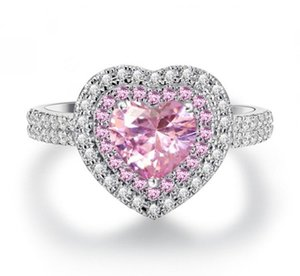High Quality Micro Paved Cubic Zirconia Pink Heart Ring for Women Stone Crystal Jewelry