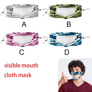 DHL IN STOCK 200PCS Designer Masks Transparent Face mouth cover Camouflage Washable Reusable Cloth Masks Antifog Clear boom2017