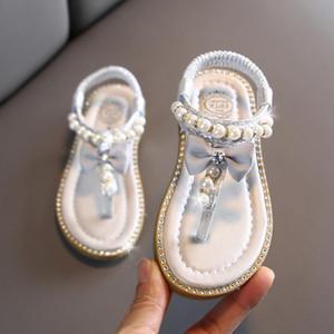 Kız Bebek Yaz Plaj Sandal 2020 Çocuk Prenses Ayakkabı Sweet Pearls Kristal Elbise Flats Ayakkabı Sandalia Bebek